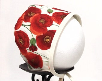Baby Bonnet - Bonnet - Floral - Red Poppies