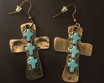 Silver Cross earrings w/Embedded Turquoise Accents