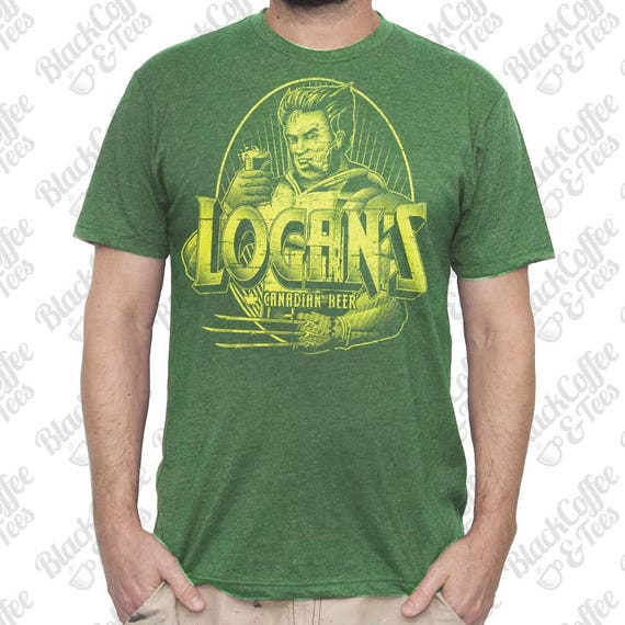St Patricks Day Shirt - Wolverine Shirt - Logan from X-Men drinking Canadian Beer Hand Screen Printed on Mens Green T-shirt - St Pattys Day