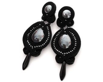 Black earrings, statement earrings, gunmetal earrings, embroidered earrings, beaded earrings, black dangle earrings, bohemian earrings, gift