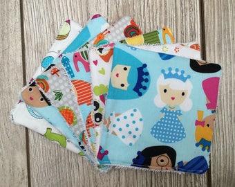 Washable wipes or cotton Washcloths eponge.elephants, princesses, owls and snails.