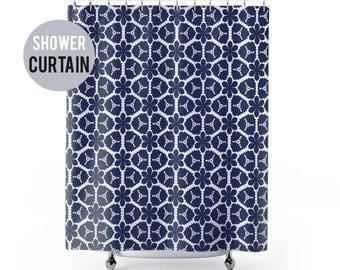 Shower Curtain Blue and White Pattern Shower Curtain