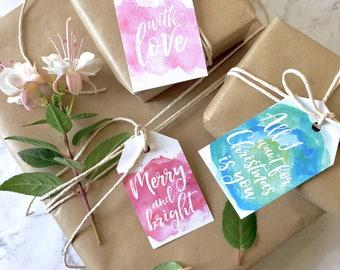 9 Watercolour Christmas Tag Set, Christmas tags, handmade gift tag, Calligraphy, Scandi Gift Tags, Modern Gift Tags