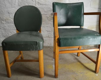 Olde English Green Leather Chairs