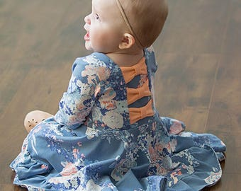 BABY Aria's Bow Back Top & Dress.  PDF Downloadable sewing patterns for Baby sizes NB-24M