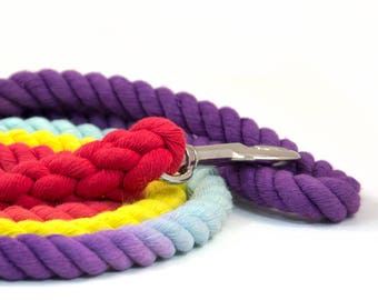 "Rope Leash ""The Bogart"" in  Purple, Robin's Egg, Yellow, and Red"