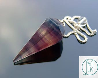 Multi Fluorite Gemstone Point Pendulum Dowsing Crystal Dowser Scrying Reiki Chakra Healing FREE UK SHIPPING