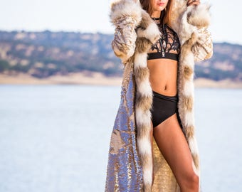 KLEOPATRA Fur Coat With Dragon Gold Scale Reversible Sequence | Burning Man | Playa Jacket | Faux fur coat | Festival Outfit | Boho Coats |