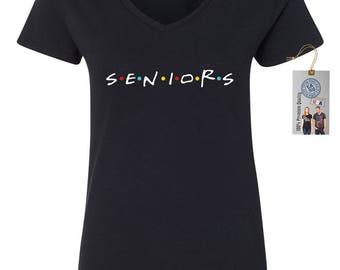 Seniors Friends Class of 2018 Womens Short Sleeve V Neck T - Shirt Top