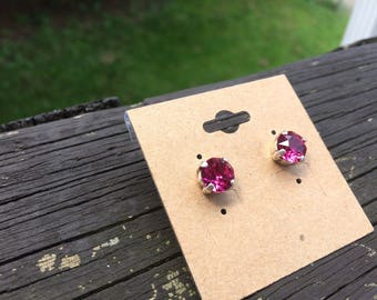 Swarovski crystal fuchsia earrings 8mm studs hot pink crystals