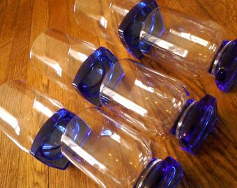 "Set of 6 Cobalt Blue Square Bottom Glasses, 3 are 5"" high, 3 are 4-1/4"" high"