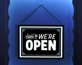 Hanging Open Sign, Open Window Sign, Come In We're Open, We Are Open Sign, Open Sign, Lighted Open Sign, Business Sign, Open Closed Sign