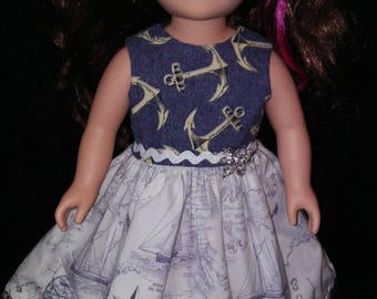 "18"" doll clothes. Doll Dress. Party Dress. Sailor Dress."