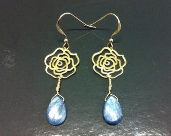 Camelia forever kyanite and 18K gold earrings