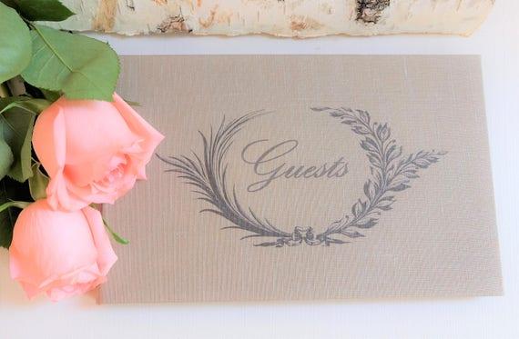 Wedding Guest Book - Olive Wreath