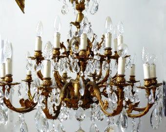 HUGE Vintage French Ornate 20 Light Crystal Chandelier
