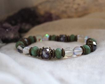 Boho Crystal Jewelry, Vegan, Angel Aura Quartz, Protection Bracelet, Yoga Bracelet, Meditation Bracelet, Reiki Bracelet, Healing Crystals,