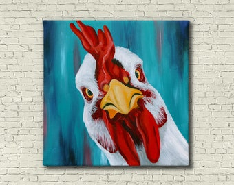 Chicken Painting - Farm Animal Painting - Chicken Art - Vegan Painting - Colorful Chicken Painting - Farmhouse Wall Decor -