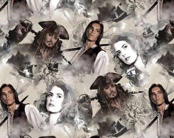 Pirates of the Caribbean Fabric Captain Jack Sparrow Fabric  / SC cream 16312 Disney Fabric / Pirates of the Caribbean Yardage, Fat Quarters