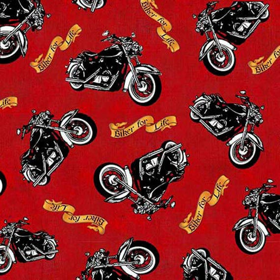 Biker For Life Fabric By The Yard / Motorcycle Toss / : motorcycle quilting fabric - Adamdwight.com