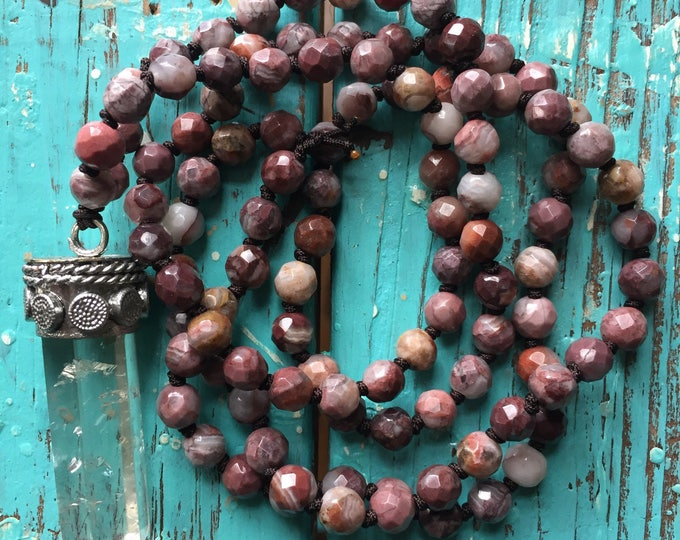 Crazy Lace Agate + Quartz Crystal Mini Mala | 108 Bead Handknotted | Spiritual Junkies | Yoga + Meditation | 6 mm