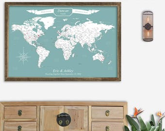 Framed map etsy framed map of the world pin board map of the world poster vintage map of the gumiabroncs Image collections