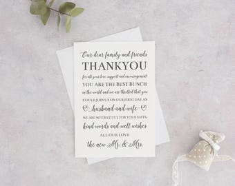 Printable Wedding Reception Thank You Card