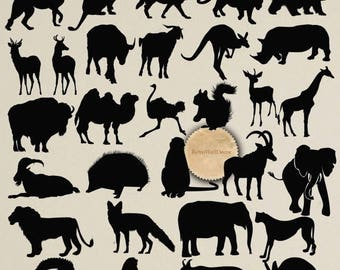 30%OFF Wild Animals Silhouettes Safari Animals Silhouettes Clip Art 30 PNG Elements Buy 2 Get 1 FREE