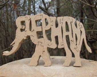 Elephant ornament, elephant gift, elephant decor, elephant lover gift, elephant puzzle, jungle animal unique elephant gift, African elephant