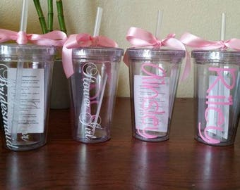 One Flower Girl, Junior Bridesmaid Custom Tumbler, Ring Bearer Tumbler, Personalized Kids 12 oz Acrylic Tumbler with Straw