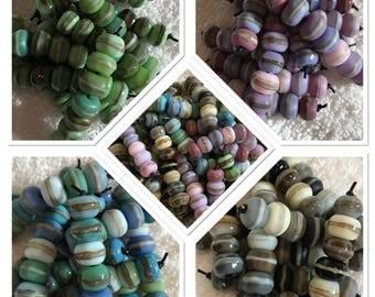 mini pebbles 7 lampwork beads sra