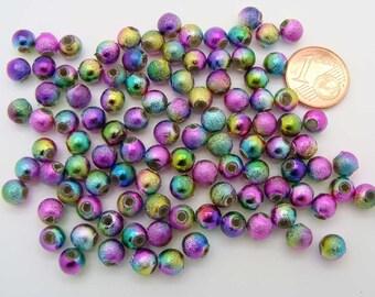 100 perles rondes 6mm aspect givre brillant multicolore acrylique RES-85 Création bijoux
