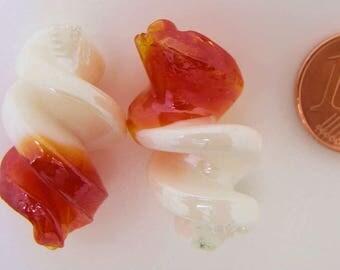 2 Perles Verre Lampwork VIS 28x17mm bicolore Blanc Rouge DIY création bijoux