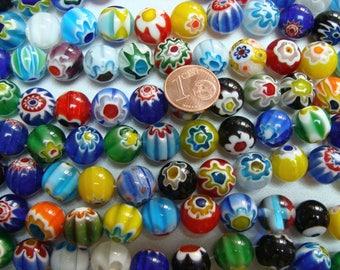 1 fil de 30 perles environ Rondes 12mm verre Millefiori  mix motifs et couleurs Création bijoux