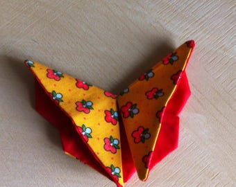 Butterfly fabric origami red and yellow