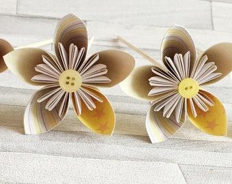 Lemon yellow paper flowers, set of 4, paper, yellow, bright, bouquet, floral arrangement, colourful, wedding center piece