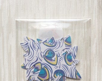 Blue and white paper butterflies