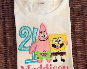 Spongebob and Patrick Birthday Birthday Shirt Or Bodysuit - Ages 1-6, Toddler, Custom Birthday Number Top - Sponge Bob and Patrick Top
