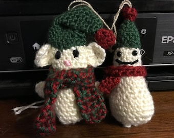 Handmade Crocheted Christmas Ornaments- Snowman and Mouse