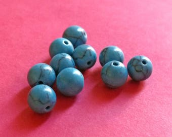 Black 8 mm marbled blue turquoise beads