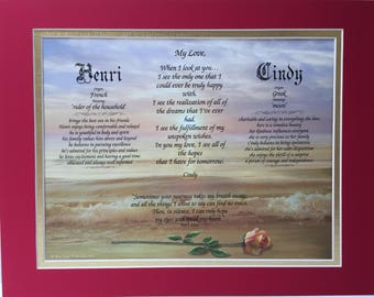 Rose on Beach print in a red/gold Double Mat