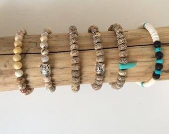 Lotus man or mixed seeds or stones bracelet