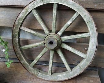 Antique Wagon Wheel, Garden Cart Wheel, 10 spoke small wheel