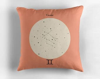 GEMINI Astrological Constellation Throw Pillow, Minimalist Zodiac Art, Home Decor