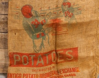 Vintage RARE Wisconsin Packers Burlap Potato Sack 100lb Bag Rustic Primitive Farmhouse Football Advertising Antigo Potato