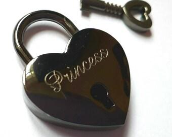 Engraved Black Heart Personalised Padlock & key (30mm)
