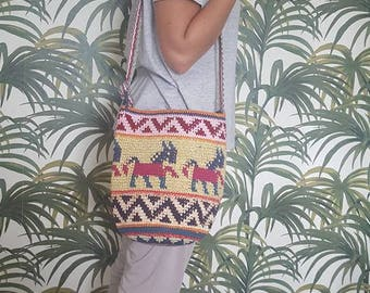 Beautiful festival handwoven boho Guatemala handbag, aztec print with alpacha's, hippie/bohemian/boohoo/tribal