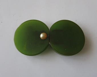 Vintage Bakelite Buckle Green Two  Piece with Pearl