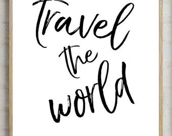 70% travel the world print, printable quotes, motivational print, printable quotes, typography quote, instant download, typography poster,