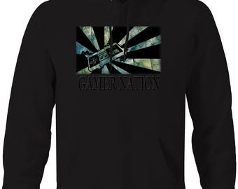 Gamer Nation - Classic Vintage Video Game Console Controller Hooded Sweatshirt- 5581